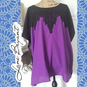 Lane Bryant top sheer purple black lace 26/28